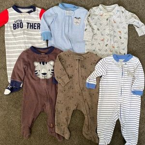 Carter's Bundle of 6 (0-3 Mo) Zip Up Sleepers
